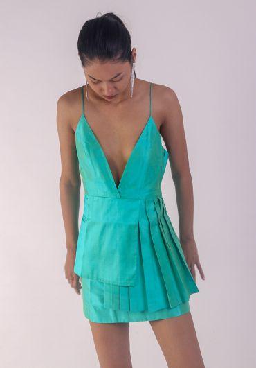 Handwoven Pleated Short Dress