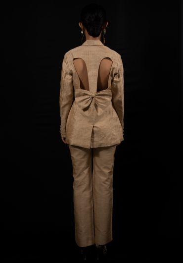 Muga Cut Out Blazer w/ Flare Pants Set