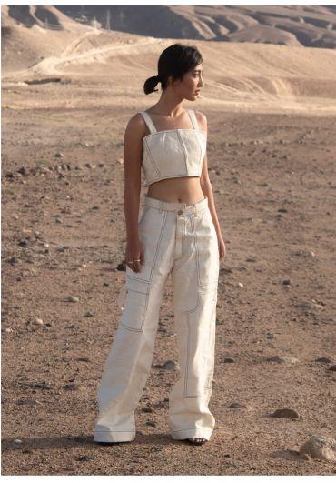 Wide leg contrast stitch pants
